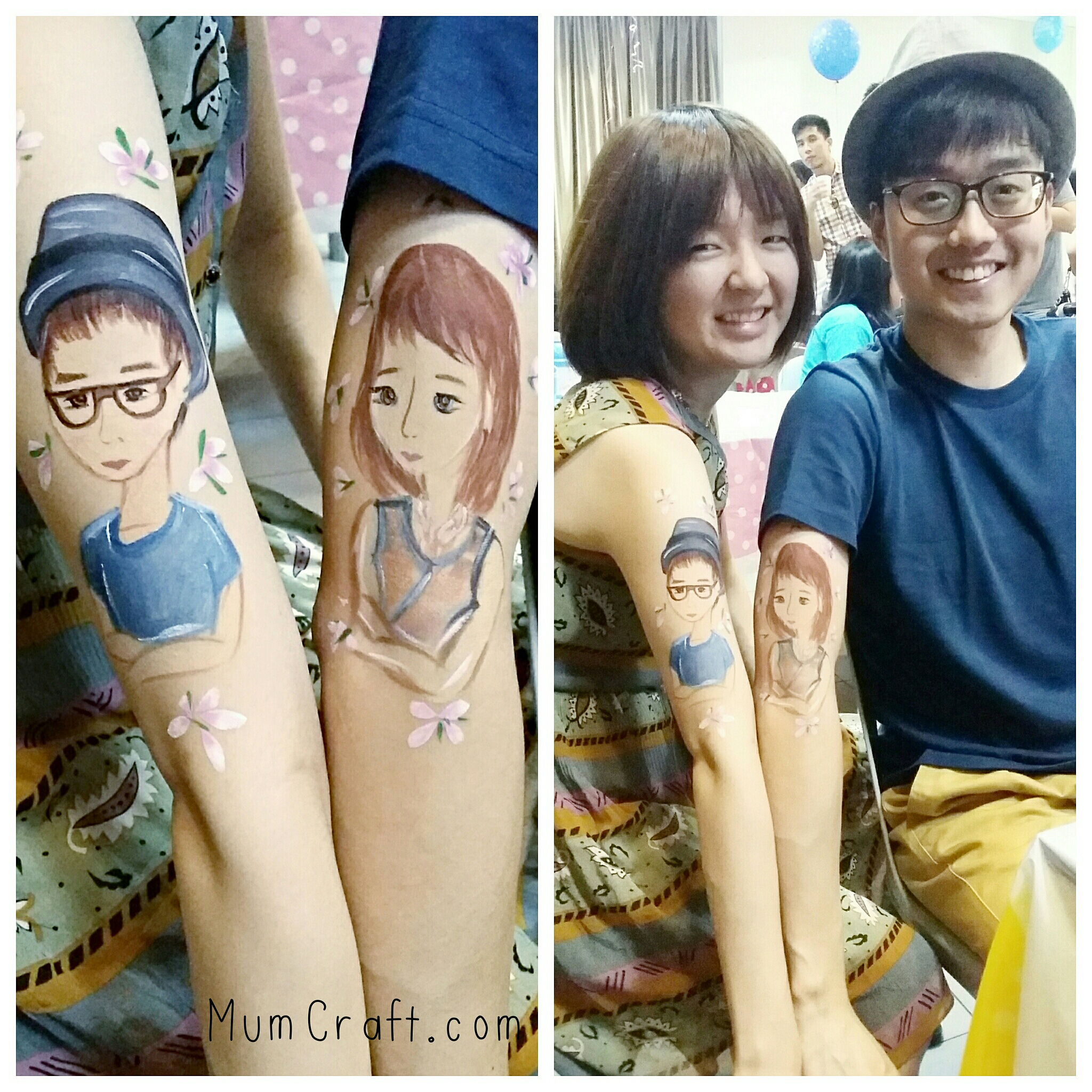 Super love this couple piece. This lovely pair newly-wed had each other painted on their arms as a symbol of their love.
