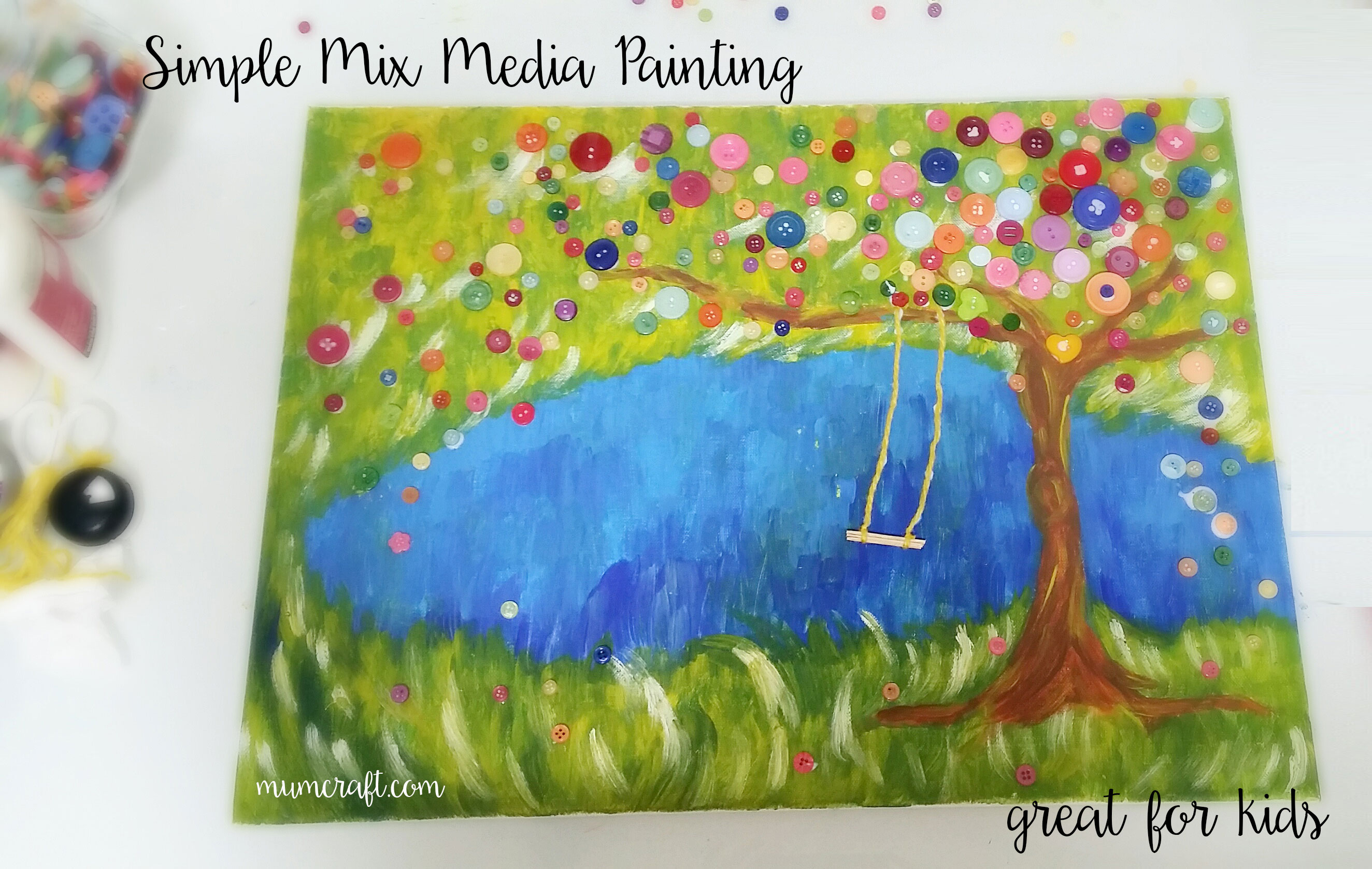 simple mix media painting for kids